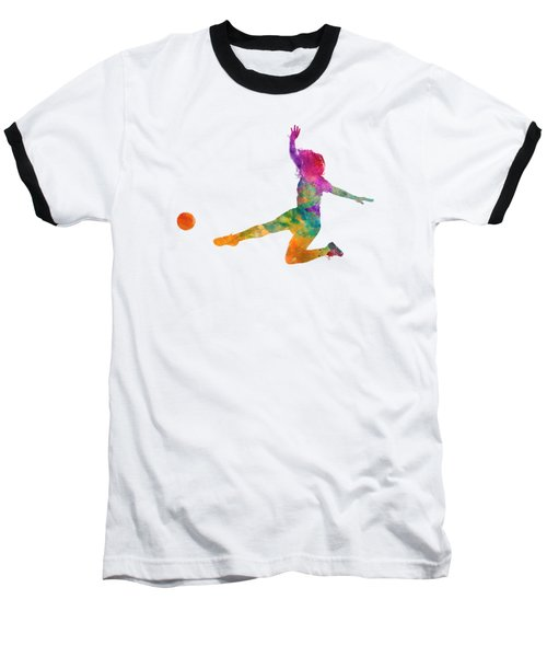 Woman Soccer Player 11 In Watercolor Baseball T-Shirt