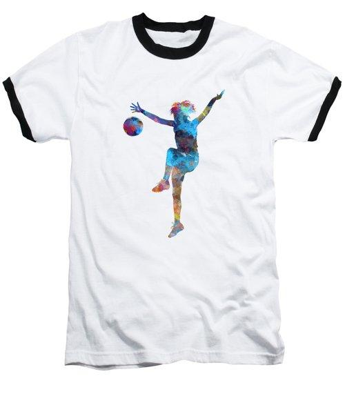 Woman Soccer Player 12 In Watercolor Baseball T-Shirt