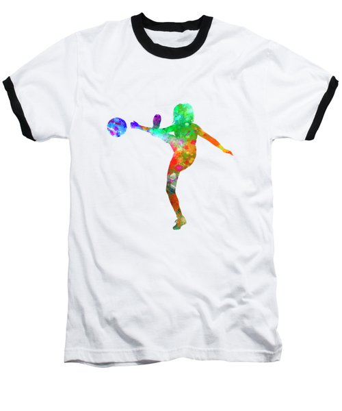 Woman Soccer Player 17 In Watercolor Baseball T-Shirt by Pablo Romero