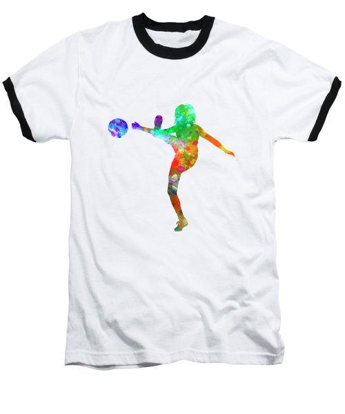 Woman Soccer Player 17 In Watercolor Baseball T-Shirt