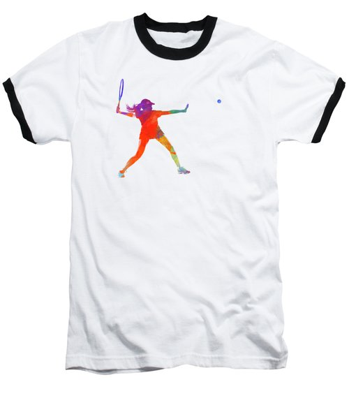 Woman Tennis Player 01 In Watercolor Baseball T-Shirt by Pablo Romero