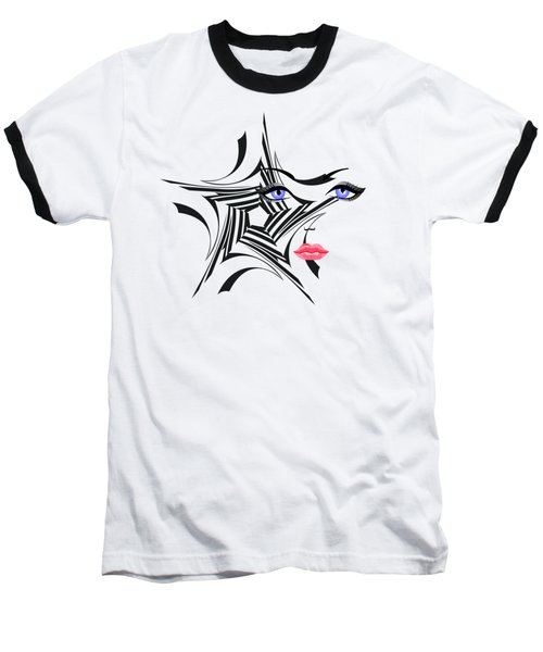 Woman With Star Design Baseball T-Shirt by Christine Perry