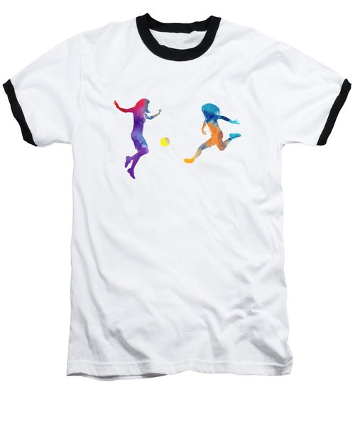 Women Soccer Players 01 In Watercolor Baseball T-Shirt by Pablo Romero