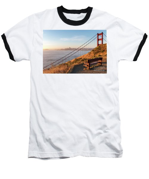 Wooden Bench Overlooking Downtown San Francisco With The Golden  Baseball T-Shirt