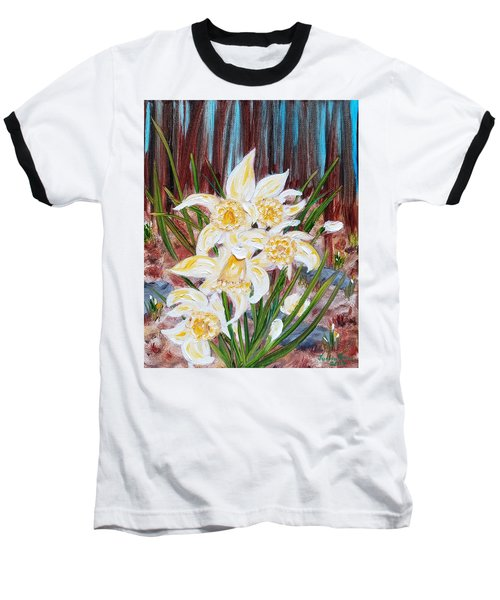 Baseball T-Shirt featuring the painting Woodland Daffodils by Judith Rhue