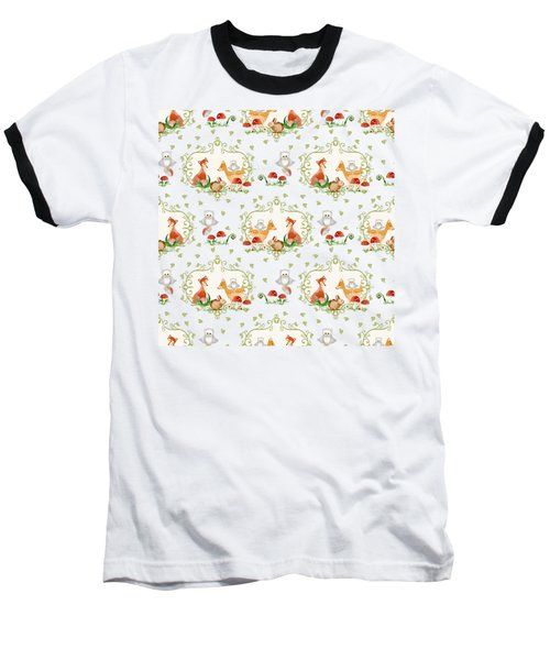 Woodland Fairy Tale - Sweet Animals Fox Deer Rabbit Owl - Half Drop Repeat Baseball T-Shirt