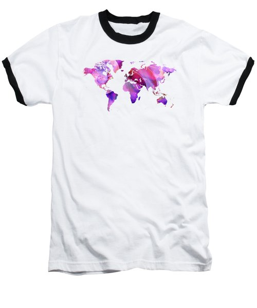 World Map 20 Pink And Purple By Sharon Cummings Baseball T-Shirt