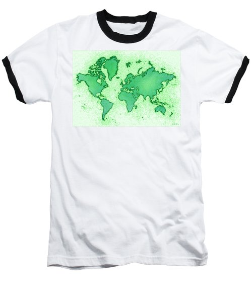 World Map Airy In Green And White Baseball T-Shirt by Eleven Corners