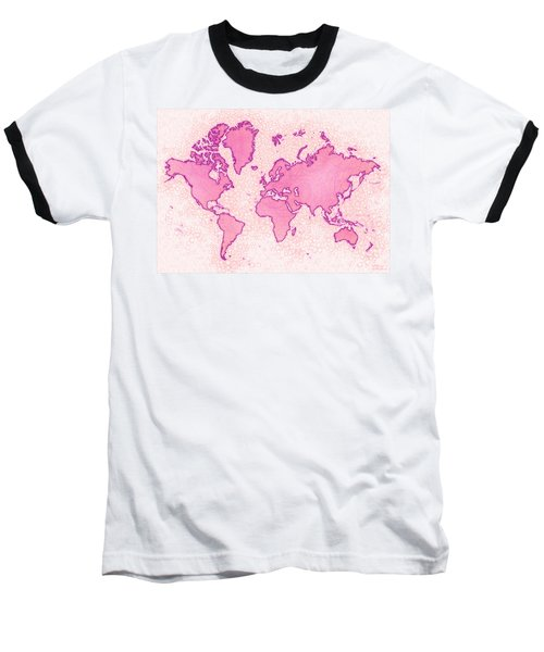 World Map Airy In Pink And White Baseball T-Shirt