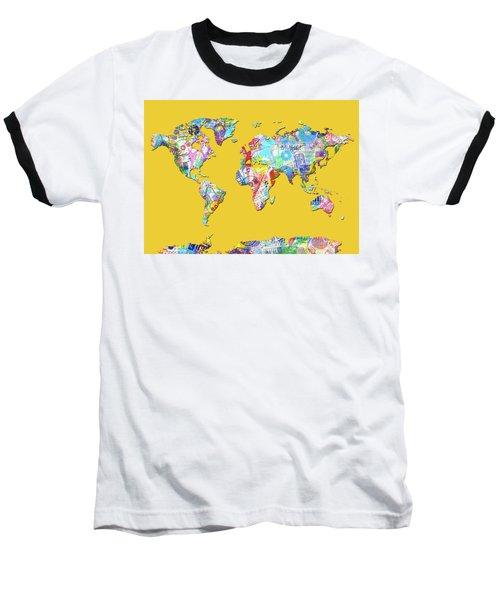 Baseball T-Shirt featuring the digital art World Map Music 13 by Bekim Art