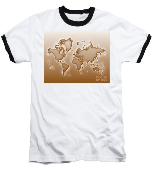 World Map Opala In Brown And White Baseball T-Shirt