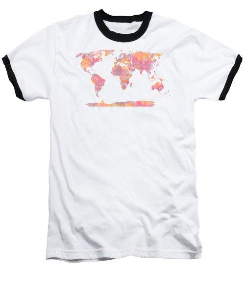 World Map Watercolor Painting Baseball T-Shirt by Georgeta Blanaru
