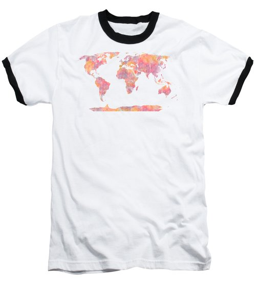 World Map Watercolor Painting Baseball T-Shirt