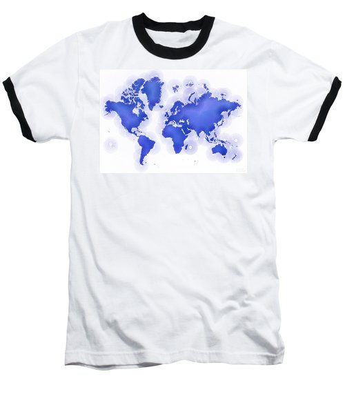 World Map Zona In Blue And White Baseball T-Shirt