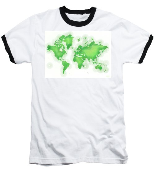 World Map Zona In Green And White Baseball T-Shirt by Eleven Corners