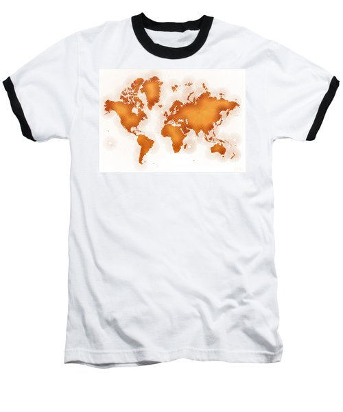 World Map Zona In Orange And White Baseball T-Shirt