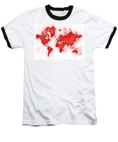 World Map Zona In Red And White Baseball T-Shirt
