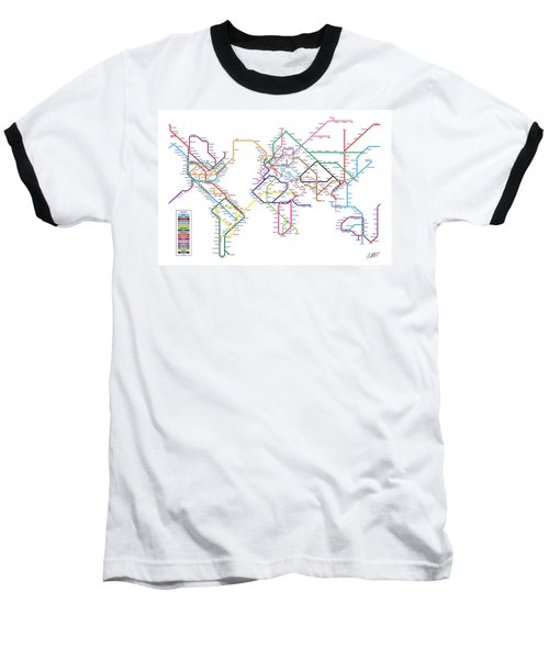 World Metro Tube Subway Map Baseball T-Shirt