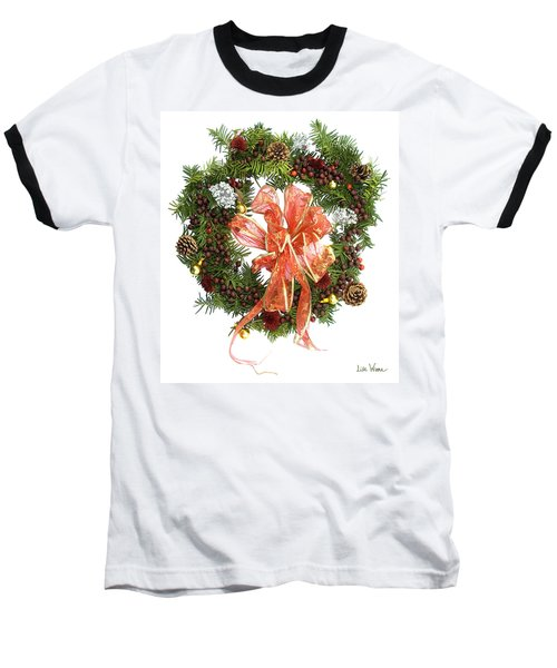 Wreath With Bow Baseball T-Shirt by Lise Winne