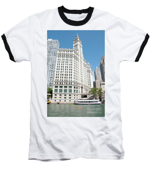 Wrigley Building Overlooking The Chicago River Baseball T-Shirt