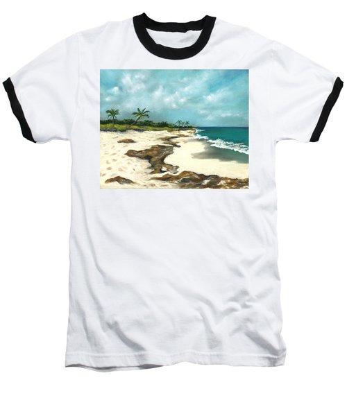 Baseball T-Shirt featuring the painting Xcaret - Mexico - Beach by Anastasiya Malakhova
