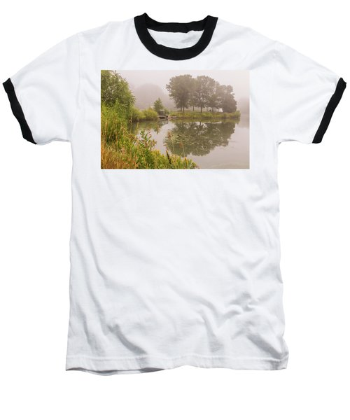 Misty Pond Bridge Reflection #5 Baseball T-Shirt