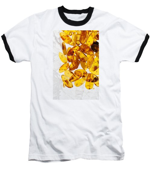 Baseball T-Shirt featuring the photograph Yellow Amber Stones  by Andrey  Godyaykin