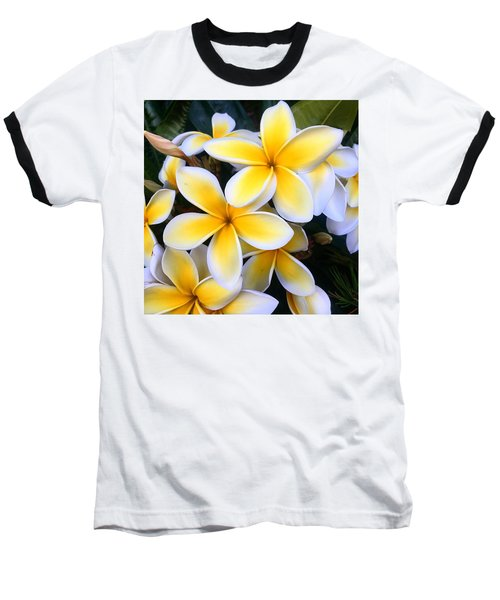 Yellow And White Plumeria Baseball T-Shirt