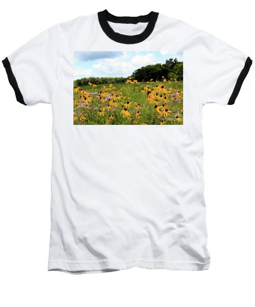 Yellow Cone Flowers Baseball T-Shirt