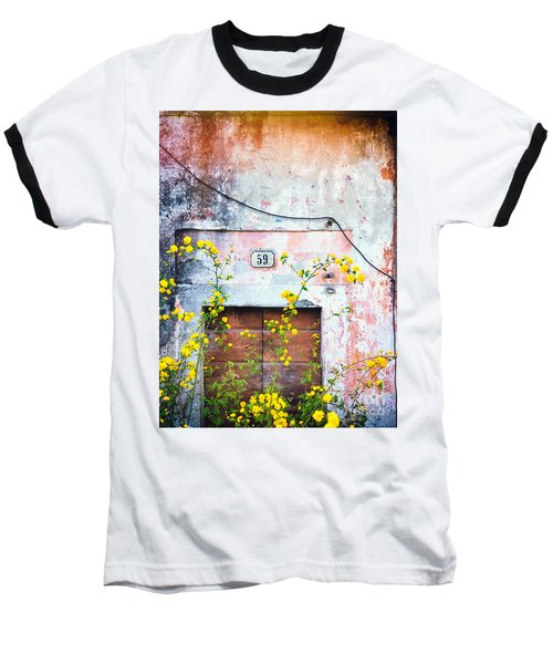 Yellow Flowers And Decayed Wall Baseball T-Shirt