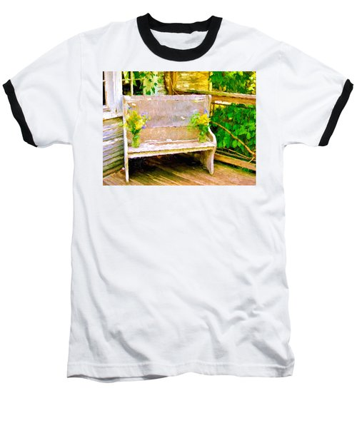 Yellow Flowers On Porch Bench Baseball T-Shirt