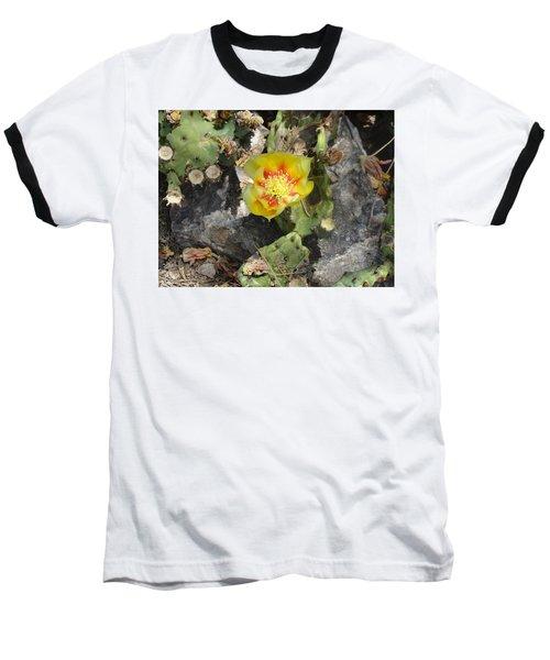 Yellow Cactus Flower Blossom Baseball T-Shirt