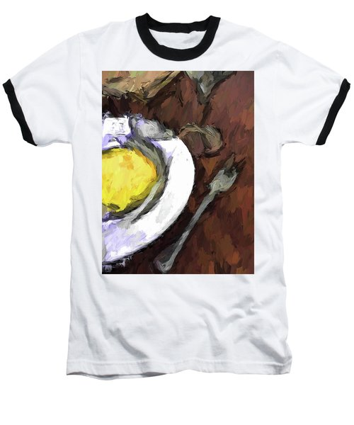 Yellow Lemon In A White Bowl With A Fork And A Wine Glass Baseball T-Shirt