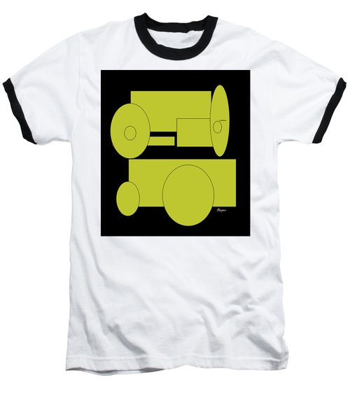 Yellow On Black Baseball T-Shirt by Cathy Harper