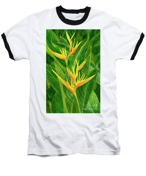 Yellow Orange Heliconia With Leaves Baseball T-Shirt