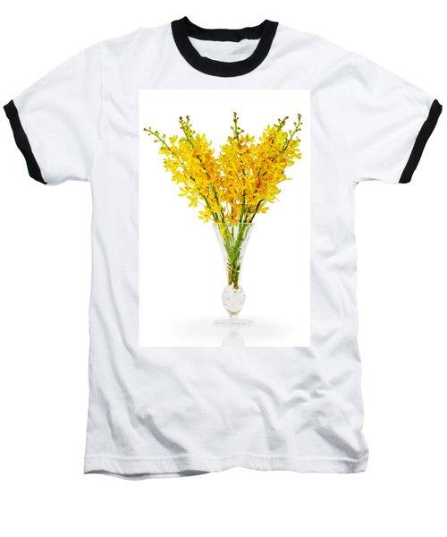 Yellow Orchid In Crystal Vase Baseball T-Shirt by Atiketta Sangasaeng