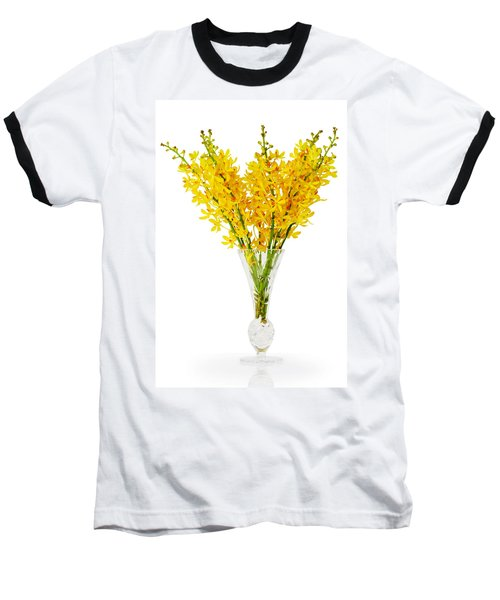 Yellow Orchid In Crystal Vase Baseball T-Shirt