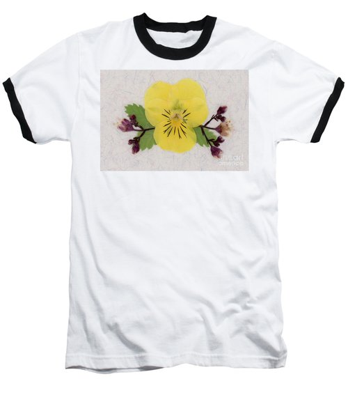 Yellow Pansy And Coral Bells Pressed Flowers Baseball T-Shirt