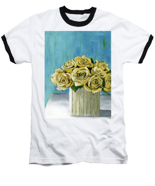 Yellow Roses In Vase Baseball T-Shirt