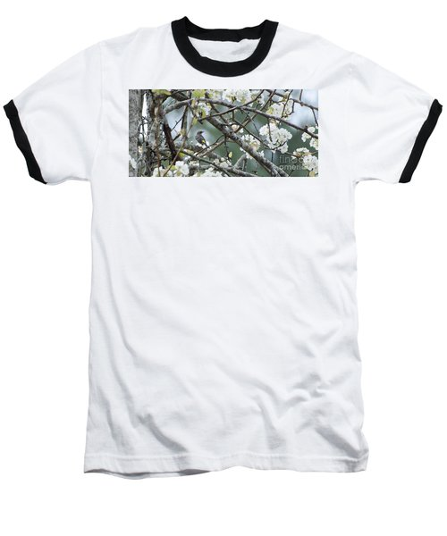 Yellow-rumped Warbler In Pear Tree Baseball T-Shirt