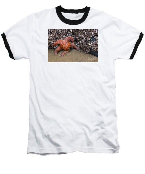 Orange Starfish On Beach #4 Baseball T-Shirt