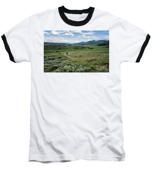Baseball T-Shirt featuring the photograph Yellow Stone Mountains by Mae Wertz