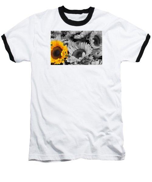 Yellow Sunflower On Black And White Baseball T-Shirt by Dora Sofia Caputo Photographic Art and Design