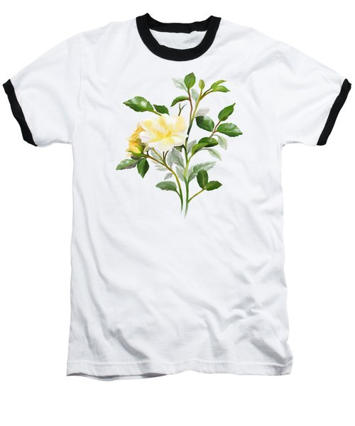 Yellow Watercolor Rose Baseball T-Shirt