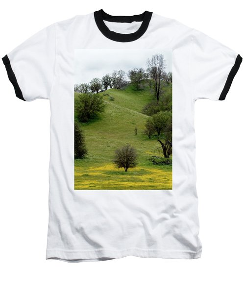 Baseball T-Shirt featuring the photograph Yellow Wildflowers And Oak Trees by Roger Mullenhour