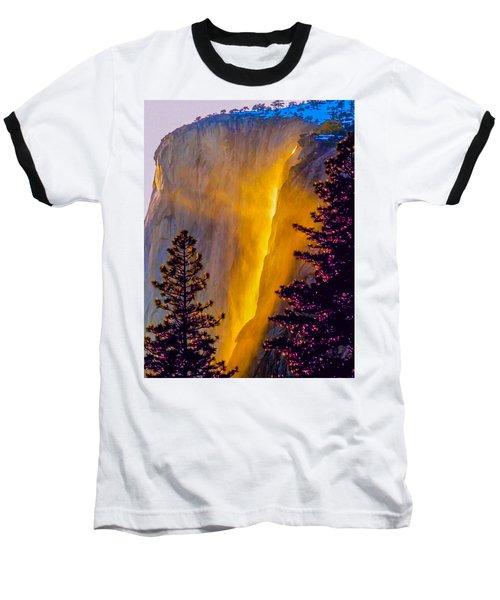 Yosemite Firefall Painting Baseball T-Shirt by Dr Bob Johnston