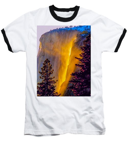 Yosemite Firefall Painting Baseball T-Shirt