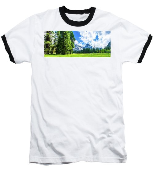 Yosemite Valley And Half Dome Digital Painting Baseball T-Shirt