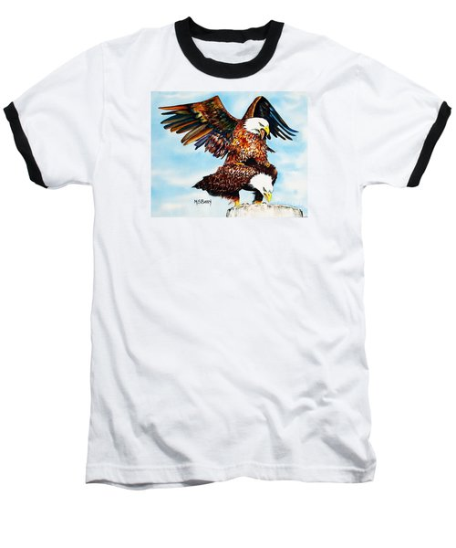 Baseball T-Shirt featuring the painting You Ruffle My Feathers by Maria Barry
