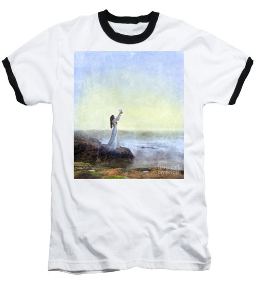 Young Lady Releasing A Dove By The Sea Baseball T-Shirt
